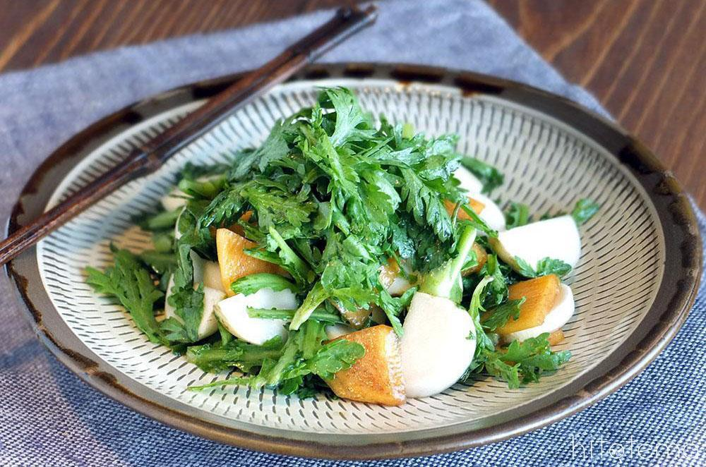 かぶと春菊のサラダ/木頭柚子オリーブオイル