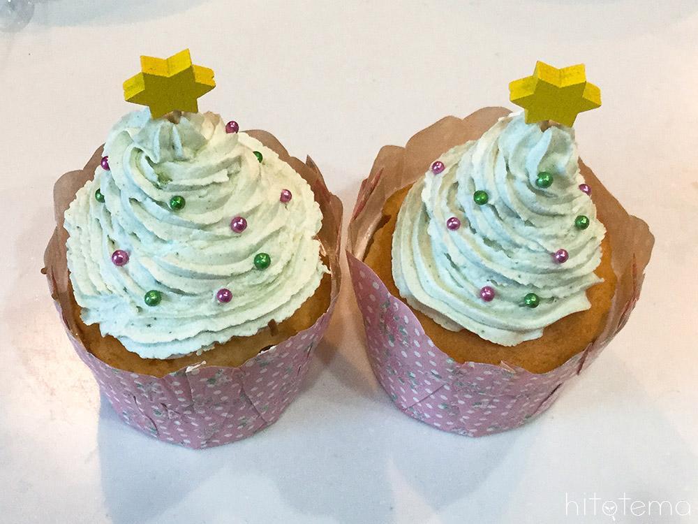ツリーのカップケーキの仕上げ2