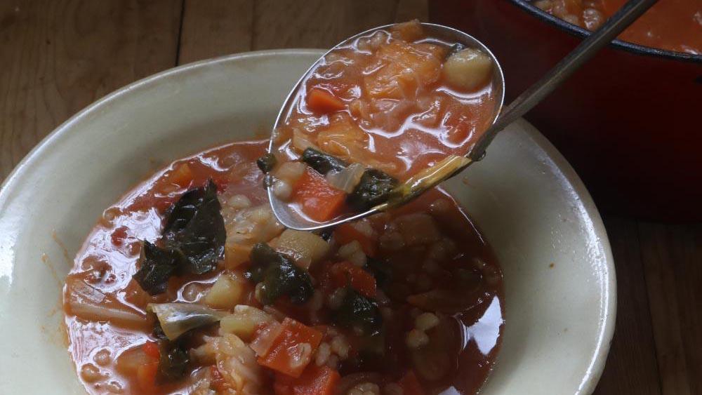 お腹の調子を整える、もち麦入りミネストローネ #ホマレ姉さんのレシピ