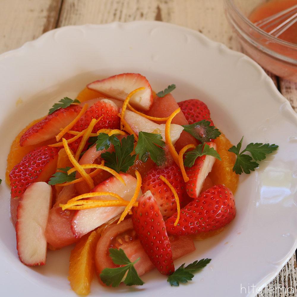 フルーツと野菜の苺ドレッシング・サラダ