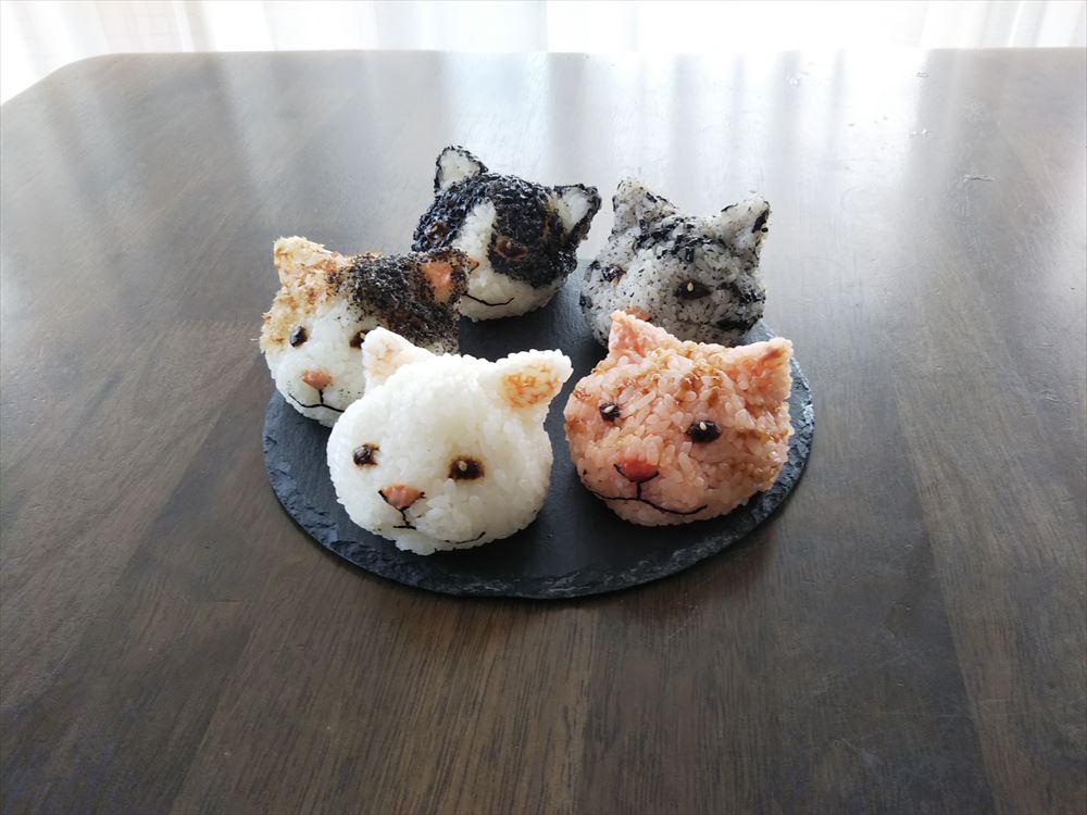 5種類の猫おにぎり