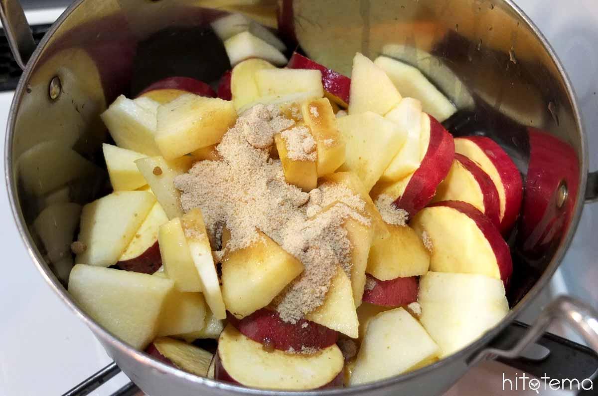 りんごとさつまいもを加熱
