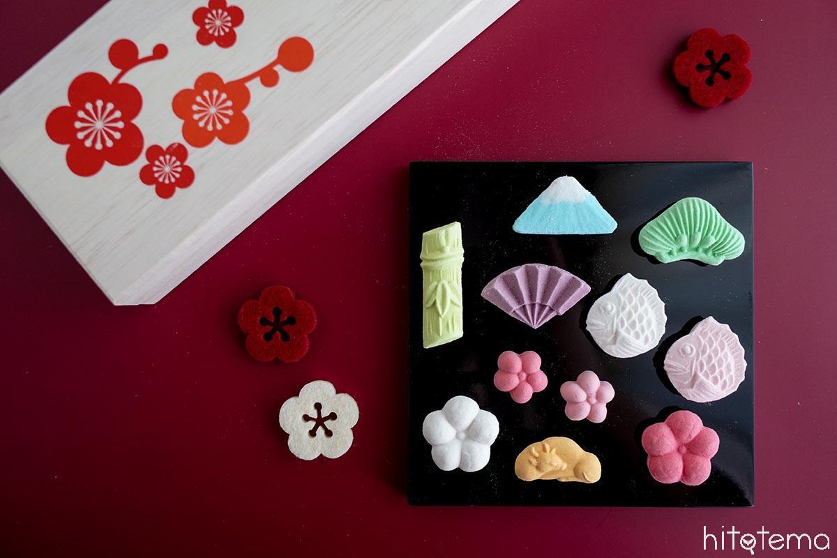 和三盆でできた食べる工芸品。象東「年賀祝い箱」