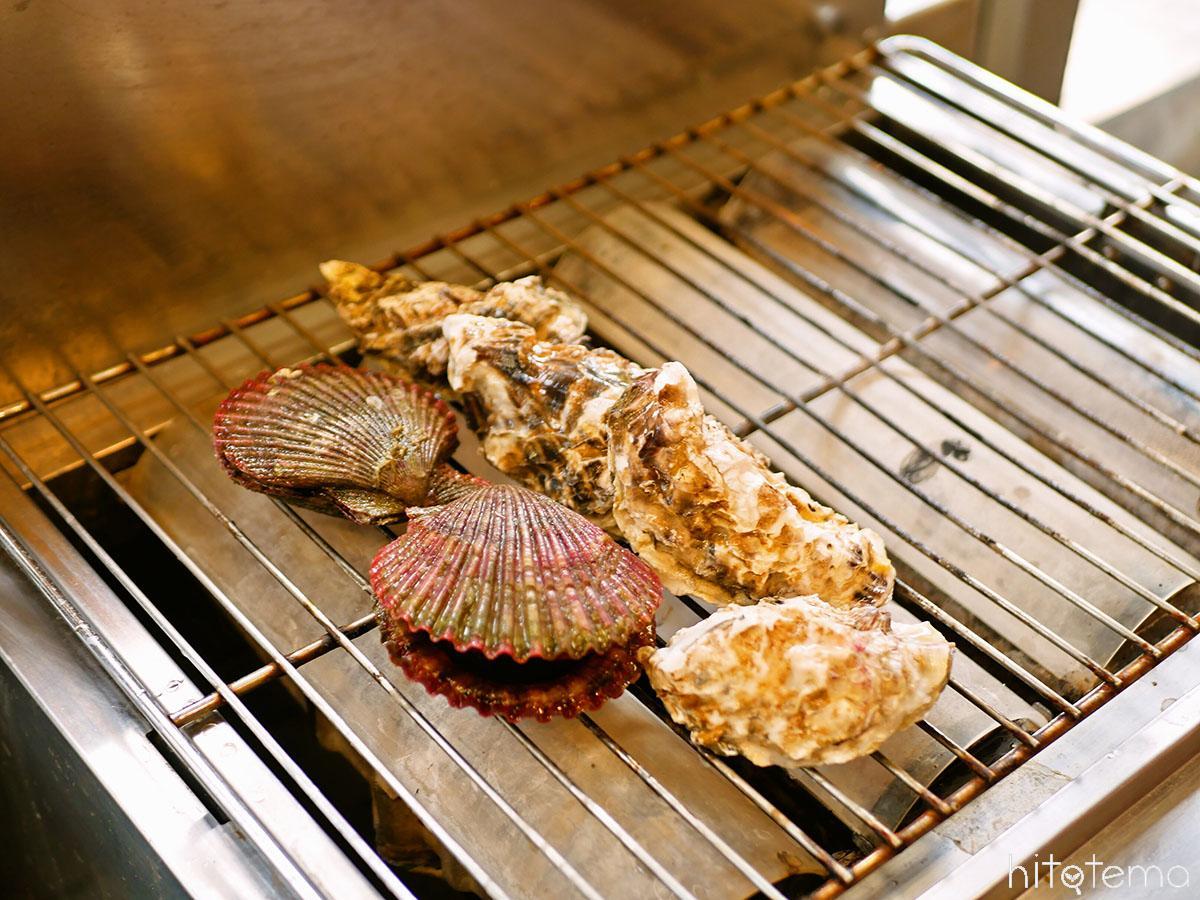 カキとヒオウギ貝