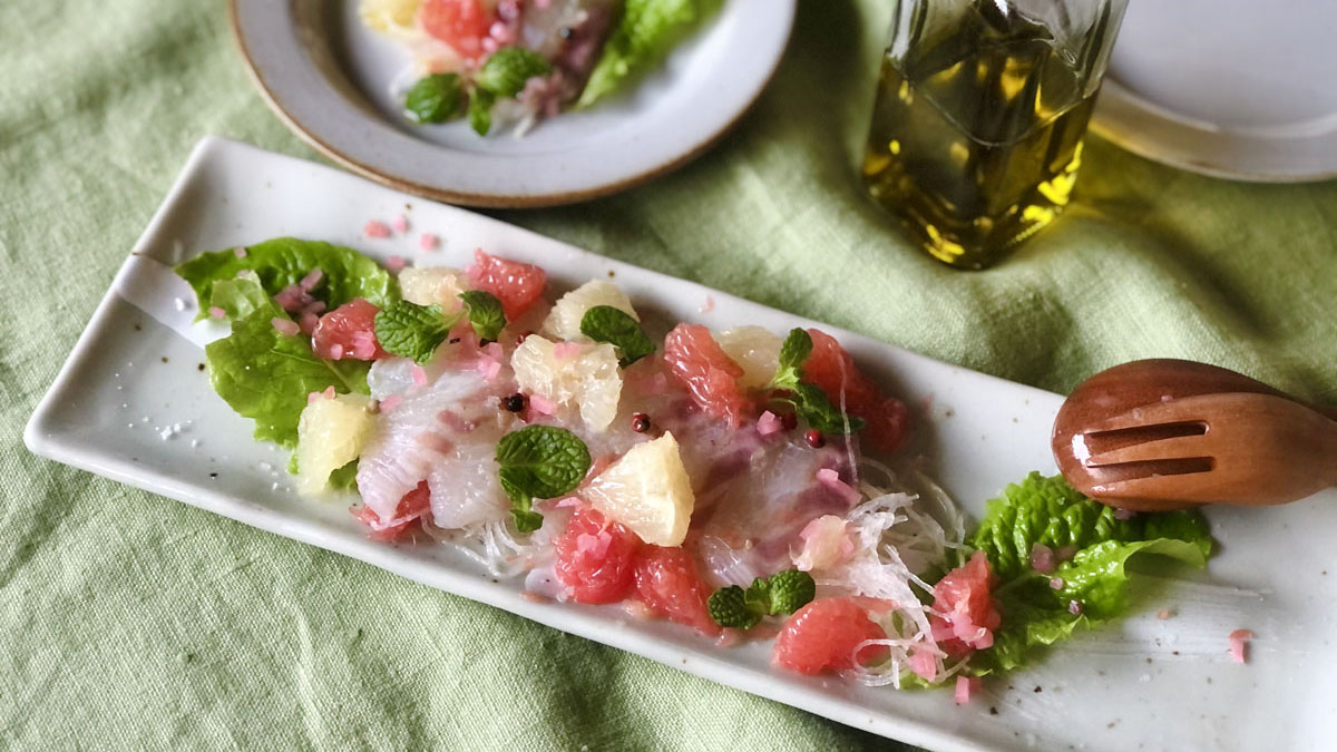 グレープフルーツとミントで爽やか真鯛のカルパッチョ風 #ハーブとスパイスの教科書
