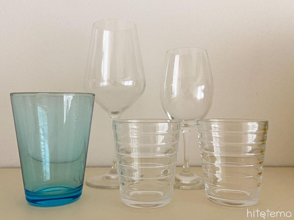 グラスの高さが違う場合の収納方法