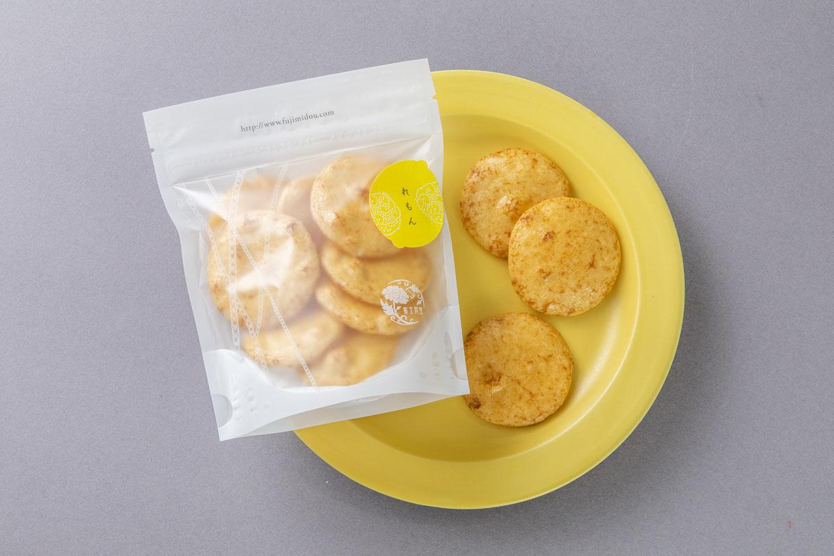 醤油とレモンの香ばしいおせんべい「れもん 富士見堂」